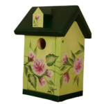 The Backyard Naturalist has hand painted bird houses, hand made and painted in Lehigh Valley, PA. This one is called 'Rose House'.