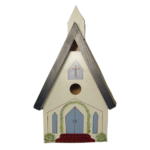 The Backyard Naturalist has hand painted bird houses, hand made and painted in Lehigh Valley, PA. This one is called 'Village Church'.