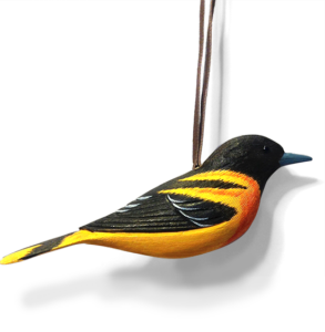 The Backyard Naturalist holiday ornament collection 2019, hand made, hand carved and made in USA. Baltimore Oriole!