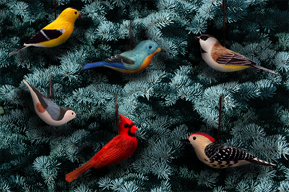 The Backyard Naturalist's new holiday ornaments for 2019 are hand carved and hand painted wooden wild birds. Made by artists in USA.