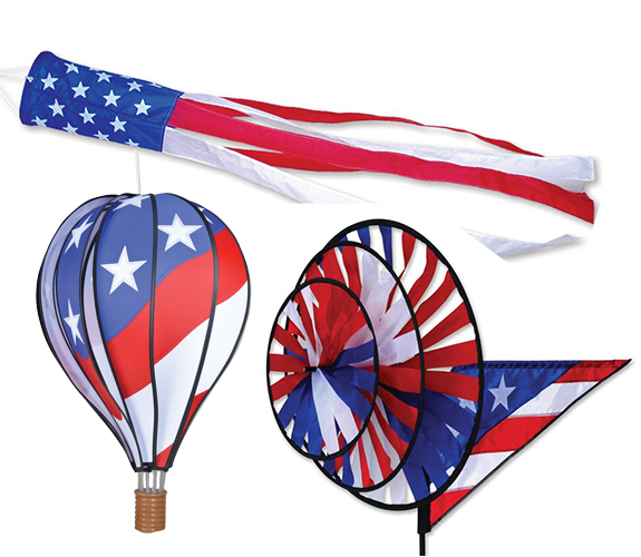 The Backyard Naturalist carries Premier Kites Flags, Wind Spinners, Whirligigs and Wind Socks. Patriotic Stars and Stripes Spinning Wind Sock andTriple Grande Wind Spinners and Balloon