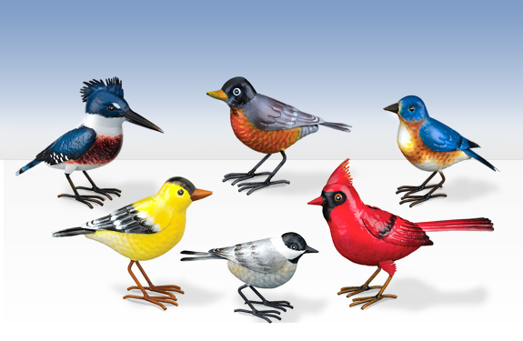 The Backyard Naturalist has a collection of life-size metal bird replica statues. They are powder coated with a durable finish and hand-painted realistic details. For indoor or outdoor display: Bluebird, Cardinal, Chickadee, Goldfinch, Kingfisher and Robin