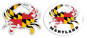 Maryland Crab Decals & Magnets at the Backyard Naturalist. Crab-shapes filled with dynamic patterns from Maryland state flag.