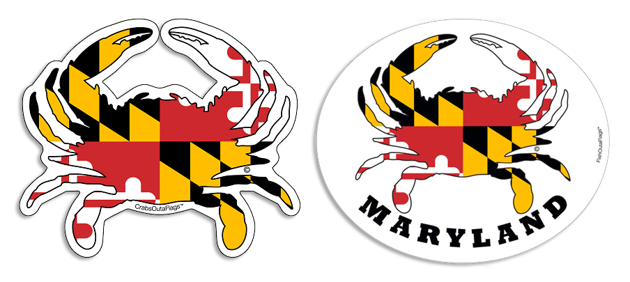 Maryland Flag Crab Decal Maryland Crab Decals Magnets